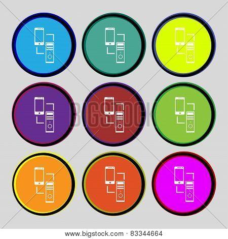 Synchronization Sign Icon. Communicators Sync Symbol. Data Exchange. Set Colur Buttons. Vector