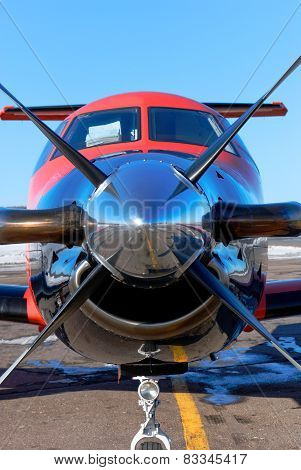 NIZHNY NOVGOROD. RUSSIA. FEBRUARY 17, 2015. Cabin of the pilot and propeller of the Pilatus