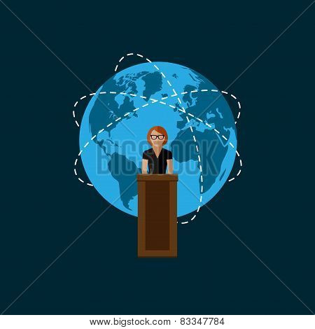 vector flat  illustration of a speaker and globe symbol. politician. election debates or international affair press conference concept poster