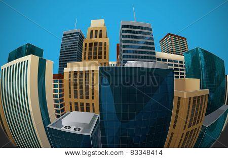 illustration of fisheye lens cityscape view. city
