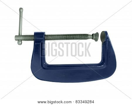 Blue G-clamp isolated on a white background poster