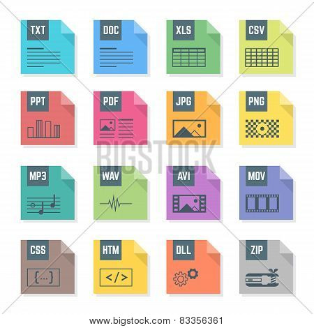 various color file flat style formats icons set with illustrations