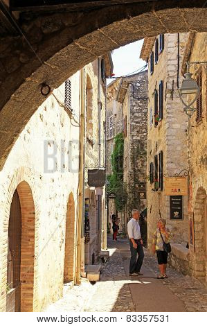 Beautiful Narrow Street With Old Houses In Saint Paul De Vence, Provence, France
