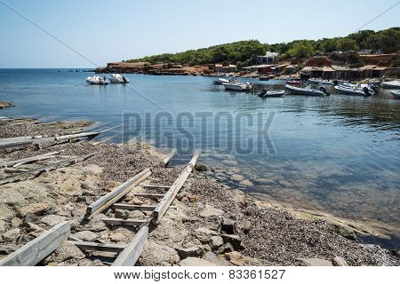 Landscape Image Of Old Mediteranean Fishing Village In Ibiza