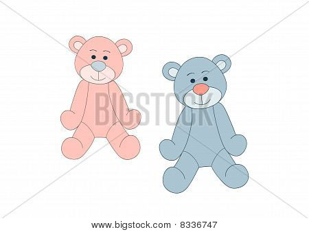 Blue and pink teddy bears