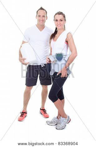 Two training adult in studio white ackground
