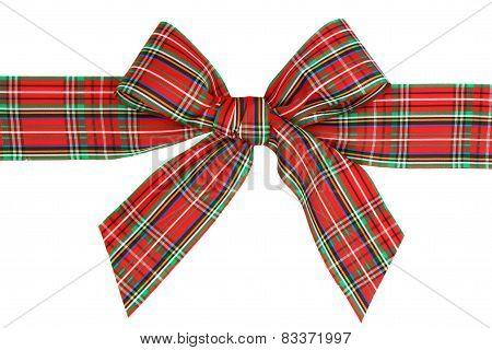 Red Plaid Ribbon Bow