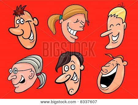 set of jolly faces