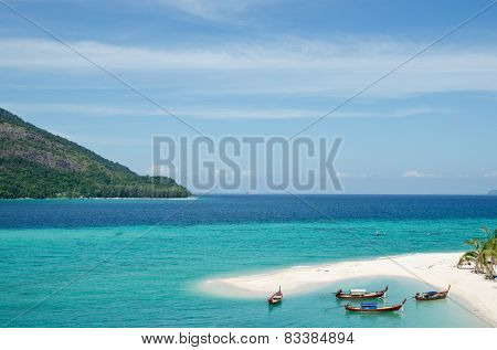 Lipe Island, Beautiful Sea And White Sand Beach In Thailand