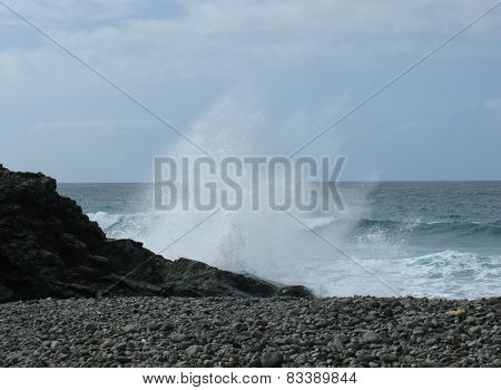 Atlantic ocean and a pebble beach