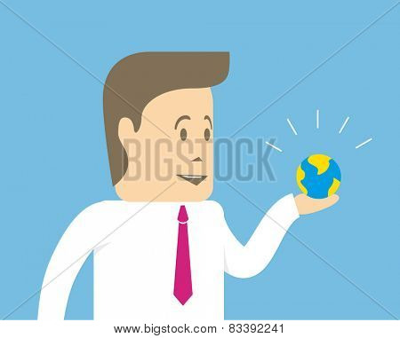 Small earthly ball in the hand of a businessman