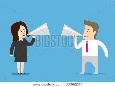 A man and a woman with a megaphone. Public speaking and PR.