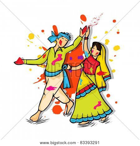 Young traditional Indian couple, dancing and playing with colors on occasion of Happy Holi and Basanta-Utsav celebration.