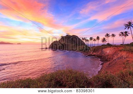 Sunset Over The Beach Of Nacpan, In The Philippines