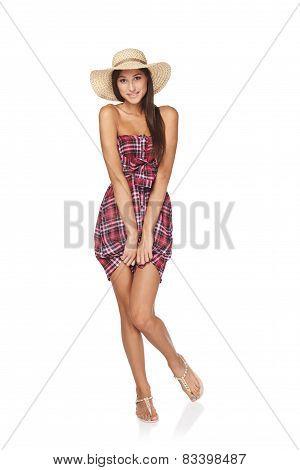 Full length summer woman portrait