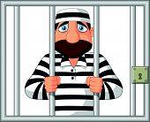 Vector illustration of Cartoon Prisoner behind bar poster