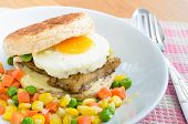 Fish Burger with fried eeg serving boiled mix vegetable healthy food poster