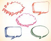 illustration of colorful speech bubble in doodle sketchy style poster
