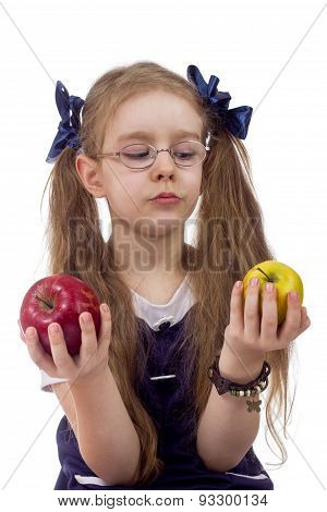 litle girl chooses apples isolated white background poster