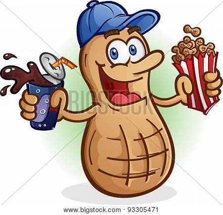 Peanut Cartoon Character Drinking Soda Pop
