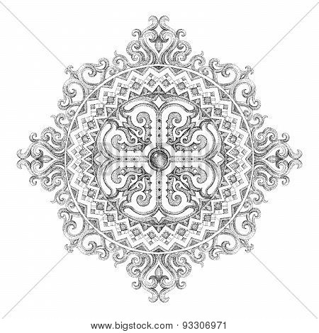 Circular Mandala With Floral Ethnic Patterns And Ornaments