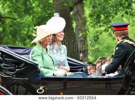 LONDON, UK - JUNE 13 2015: Kate Middleton, Prince Harry & Camilla Rosemary at Trooping the Colour