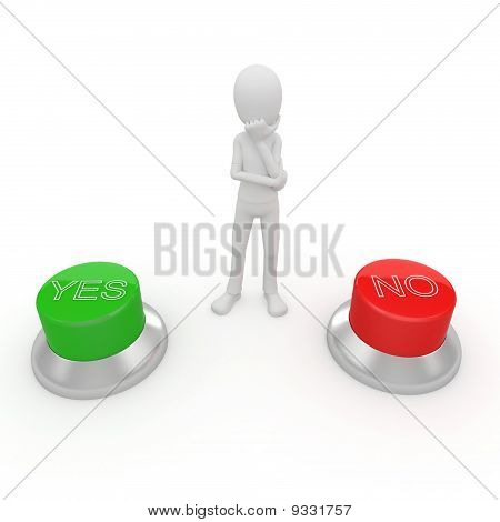3D Man With Green And Red Buttons
