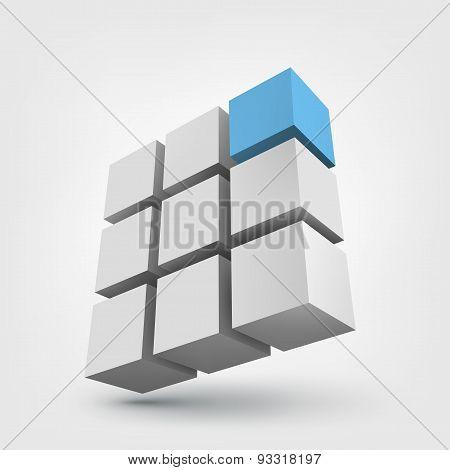 Composition of 3d cubes.