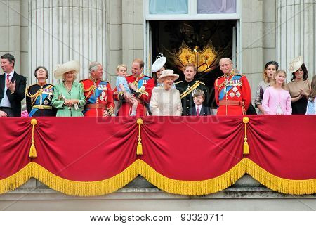LONDON UK - JUNE 13: The Royal Family appears on Buckingham Palace balcony during Trooping the Colour ceremony also Prince Georges first appearance on balcony on June 13 2015 in London poster