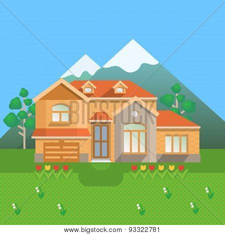 Country house in mountains.