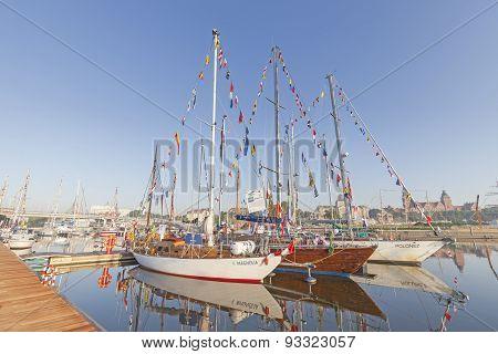 Szczecin's Marina With Yachts.
