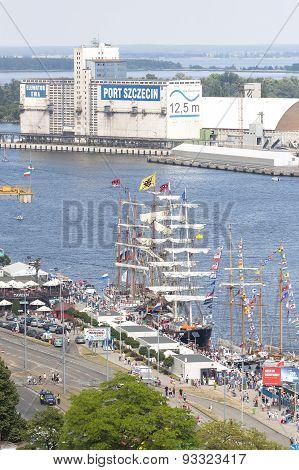 Sailing Ships By Chrobry Embankment In Szczecin.