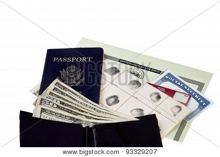 Travel Identification Papers With US Currency