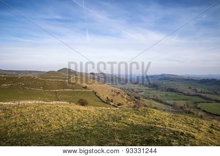 Stunning landscape of Chrome Hill and Parkhouse Hill Dragon's Back in Peak District in UK poster