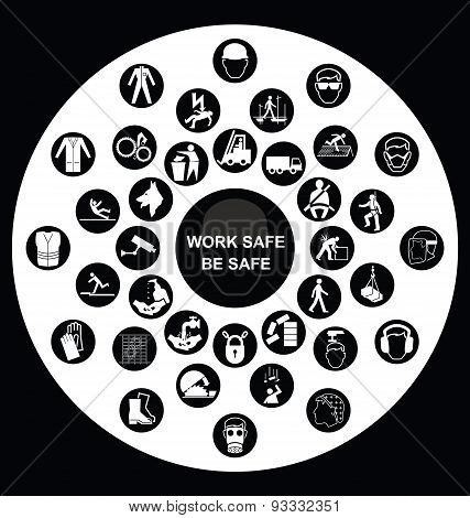 Circular Health and Safety Icon collection