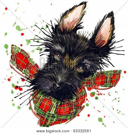 Scotch terrier dog T-shirt graphics, Scotch terrier illustration with splash watercolor textured bac