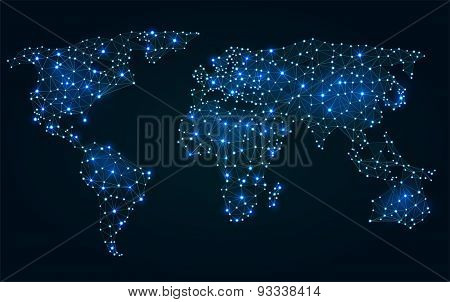 Abstract Polygonal World Map With Hot Points, Network Connections