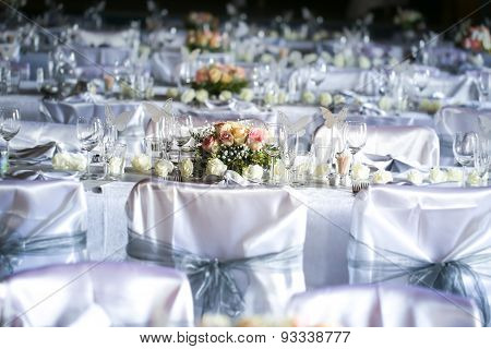 Laid table at a wedding funeral reception