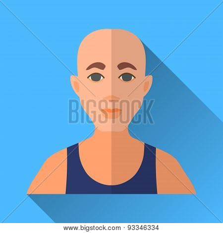 Bald Man In A Sleeveless Sports Shirt, Square Flat Icon
