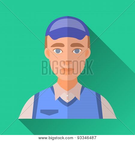 Worker Man In Work Uniform, Square Flat Icon