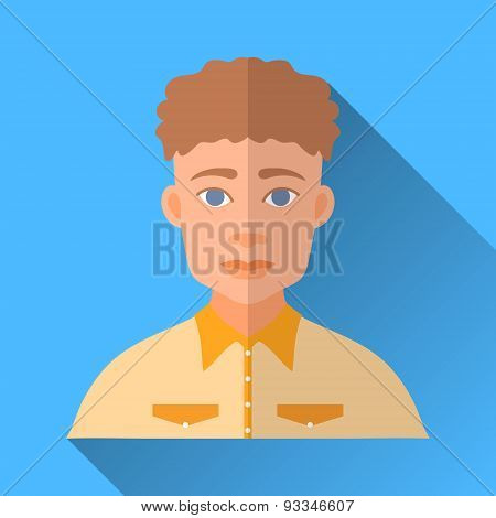 Curly-headed Hipster Man In A Yellow Shirt, Square Flat Icon