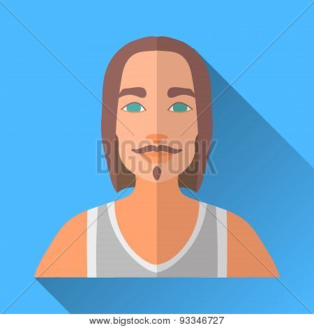 Rock Man With Long Hair, Beard And Moustache, Square Flat Icon