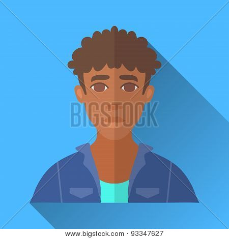 African American Man In Denim Jacket, Square Flat Icon