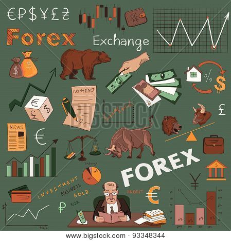 Colored finance forex hand drawing