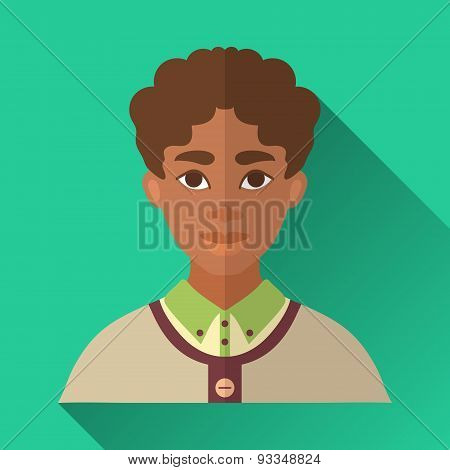 Young African American Man, Square Flat Icon