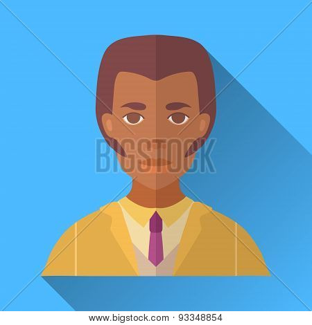 African American Man With Whiskers And Stylish Haircut, Square Flat Icon