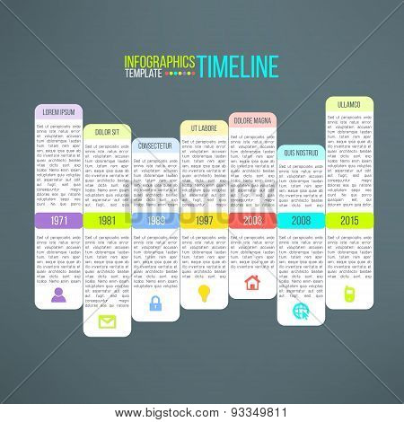 Vector colorful timeline template infographic suitable for business presentations, reports, statisti