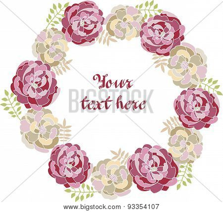 Peony vector decorative frame for the text