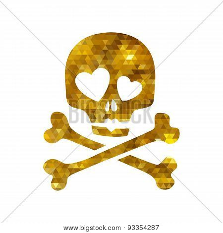 Golden mosaic faceted luxury skull in love ironic icon.