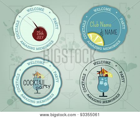 Summer Cocktail Party Badge And Logo Layout Template With Blue Lagoon Cocktail, Lemon And Cherry Ele
